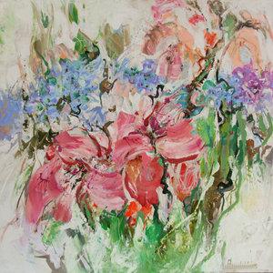 Feeling of spring - 110 x 110 cm - Bloemen schilderij