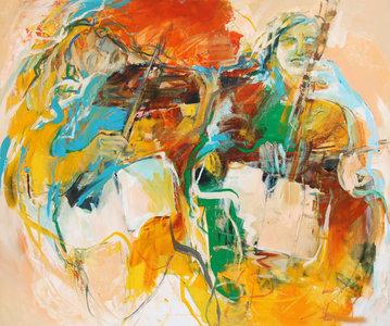 Duet - 120 x 100 cm - Muziek schilderij