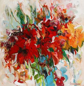 It will be summer again - 110 x 110 cm - Bloemen schilderij