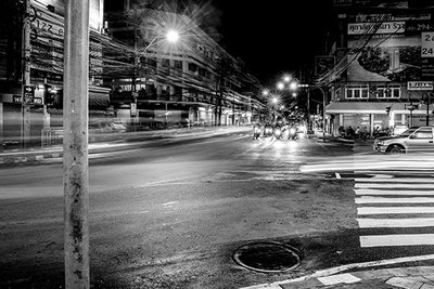Lighted city BW