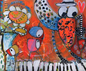 Wonderbaar Can you hear the music - 120 x 100 cm - Vrolijk schilderij LU-58
