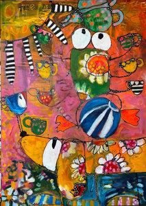 Keep the balance - 100 x 140 cm - Kleurrijk schilderij