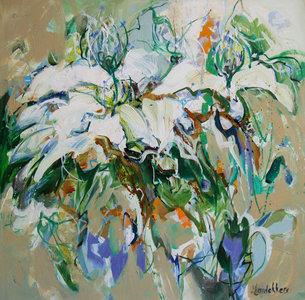 Daybreak - 100 x 100 cm - Abstract bloemen schilderij