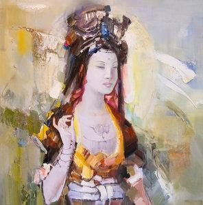 Oriental II - 110 x 110 cm - Vrouwen schilderij