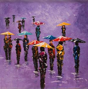 Colourful Day - 90 x 90 cm - Kleurrijk schilderij