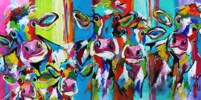 Aaibare koe en kalf - 160 x 80 cm - Schilderij koeien
