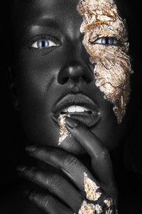 Golden face I - Fotokunst vrouw