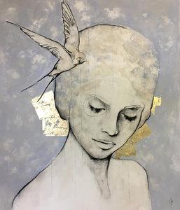 Free I - 110 x 130 cm - Schilderij vrouw
