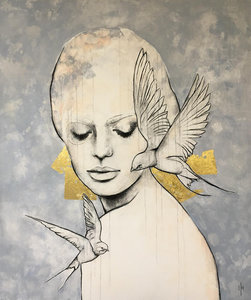 Free II - 110 x 130 cm - Schilderij vrouw