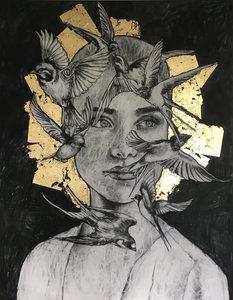Free as a bird - 110 x 140 cm - Schilderij vrouw