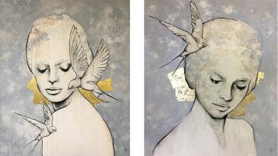 Tweeluik (Free) - 220 x 130 cm - Schilderij vrouwen