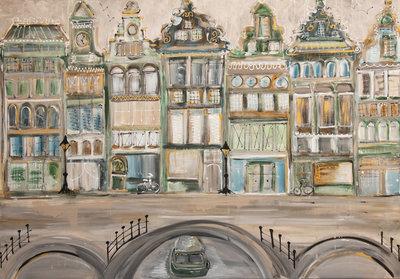 Oude herenhuizen grachtenpanden - 150 x 100 cm - Grachtenpanden schilderij