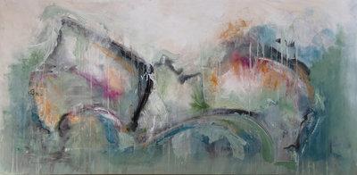 Golden wings - 160 x 80 cm - Abstract schilderij