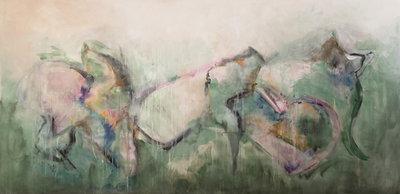 Flying in the sky - 160 x 80 cm - Abstract schilderij