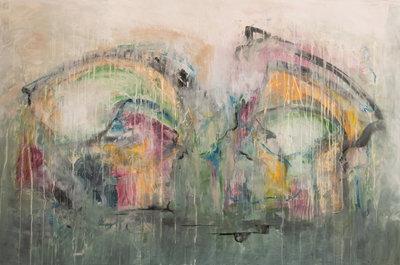 Fantasy Butterfly - 150 x 100 cm - Abstract schilderij