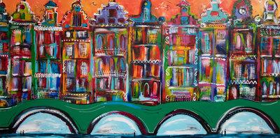 Grachtenpanden - 160 x 80 cm - Grachtenpanden schilderij