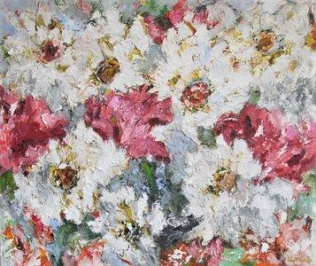 Verneuil - 130 x 110 cm - schilderij bloemen