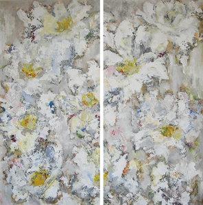 Margherite Bianche - 140 x 140 cm - schilderij tweeluik bloemen