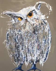 Blauwvoet - 120 x 150 cm - Schilderij uil