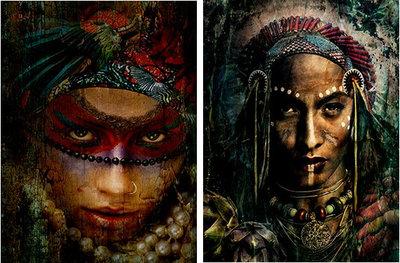 Tweeluik (Out of the jungle & Indian portrait) - XL! - Fotokunst