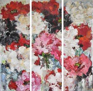 Carmelina - 150 x 150 cm - schilderij drieluik bloemen