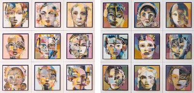 Tweeluik serie VII en VIII - 122 x 122 cm - Epoxy schilderij