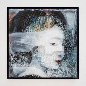 Kleurrijke vrouw II - 22 x 22 cm - Epoxy schilderij