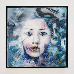 Kleurrijke vrouw III - 22 x 22 cm - Epoxy schilderij