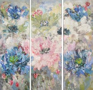 Springtime - 150 x 150 cm - schilderij drieluik bloemen