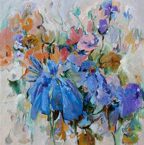 Blue diamonds - 120 x 120 cm - schilderij bloemen