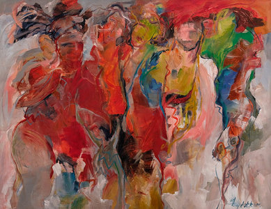 On stage - 120 x 100 cm - schilderij abstract