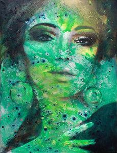 Très chique - 120 x 160 cm - schilderij vrouw