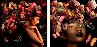 Tweeluik (Garden of Eden & Black beauty) - 200 x 100 cm - Fotokunst