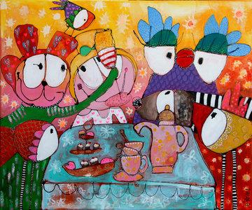 Cheers to life - 120 x 100 cm - Vrolijk schilderij