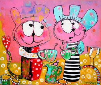 Pinky's teaparty - 120 x 100 cm - Vrolijk schilderij