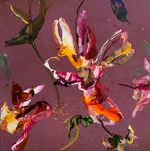 Happy Flowers 150 x 150 cm - Bloemen schilderij
