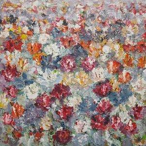 Campo di Fiori 100 x 100 cm Bloemen schilderij