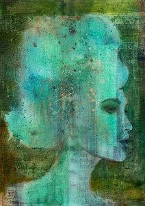 Smaragd Mind - 100 x 140 - Schilderij vrouw