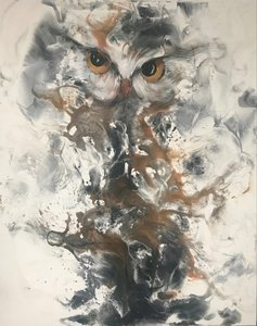 Innemend - 120 x 150 cm - Schilderij uil