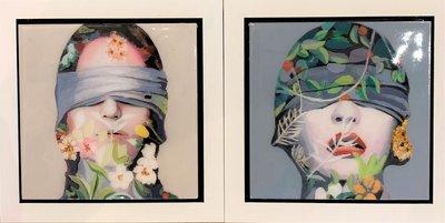 Tweeluik Lust & Sultry- 44 x 44 cm - Epoxy schilderij