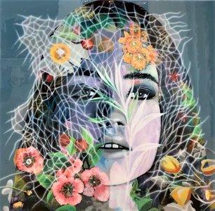Portret vrouw bloemen