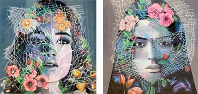 epoxy schilderij tweeluik portret vrouw bloemen