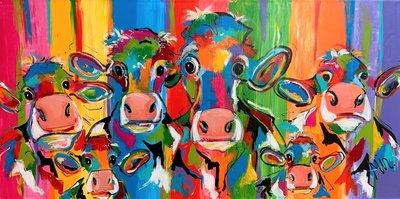 Koeien uit Nederland - 160 x 80 cm - Schilderij koeien