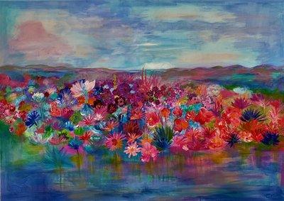 Dreamriver - 140 x 100 cm - bloemen schilderij