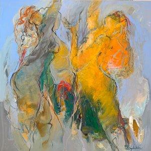 Summerrain - 110 x 110 cm - schilderij vrouwen
