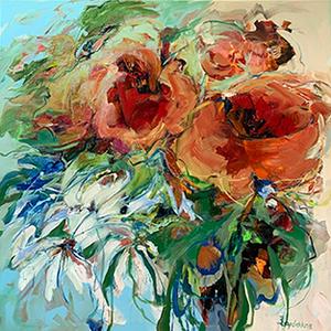 Red Passion - 130 x 130 cm - schilderij bloemen