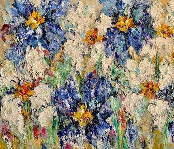 White Serene - 120 x 100 - Bloemen schilderij