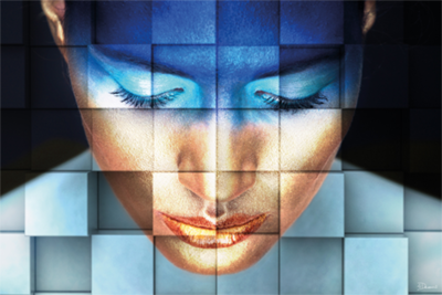 Face with Squares - Fotokunst vrouw