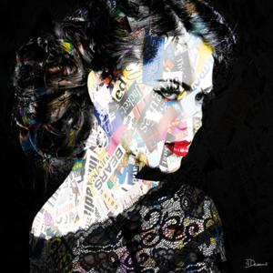 Woman on black background - Fotokunst vrouw