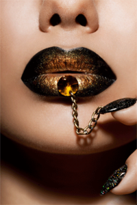 Golden Lips - Fotokunst vrouw